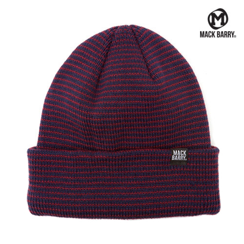 맥베리 STRIPE HEAVY WEIGHT BEANIE (NAVY/WINE)