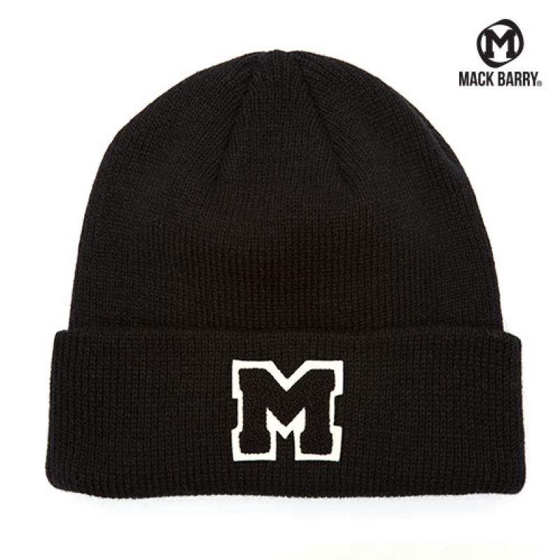 맥베리 OG M LOGO HEAVY WEIGHT BEANIE (BLACK)