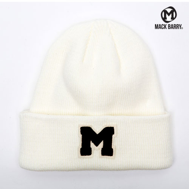 맥베리 OG M LOGO HEAVY WEIGHT BEANIE (WHITE)