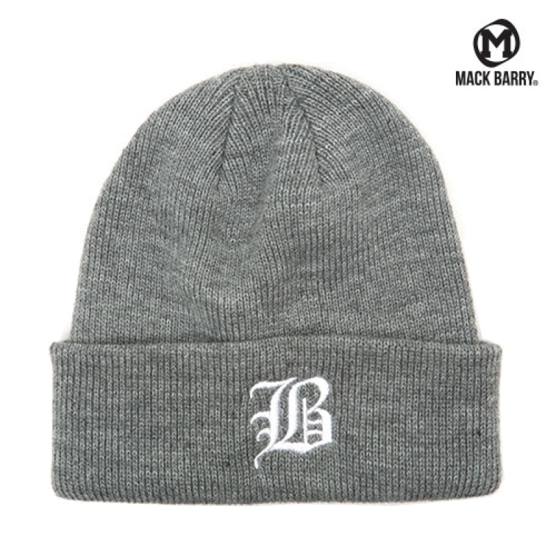 맥베리 OLD B LOGO HEAVY WEIGHT BEANIE (GRAY)